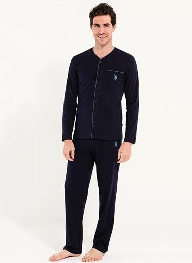 U.S. Polo Assn. Boydan Patlı Pijama Takım Lacivert